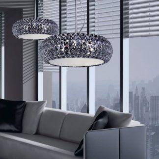 2 kryształowe lampy wiszące do salonu glamour