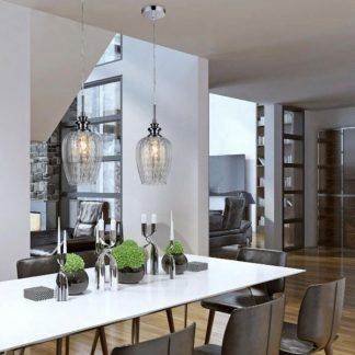 2 lampy wiszące glamour nad stołem w salonie - szklane