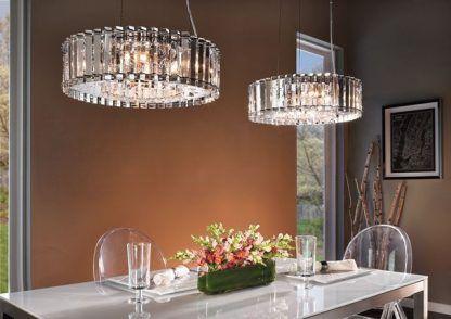2 lampy wiszące kryształowe art deco nad stołem w jadalni