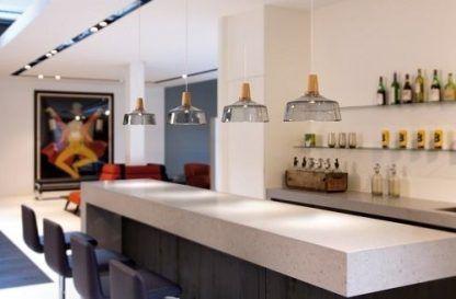 4 lampy wiszące z szarego szkła nad wyspę do kuchni