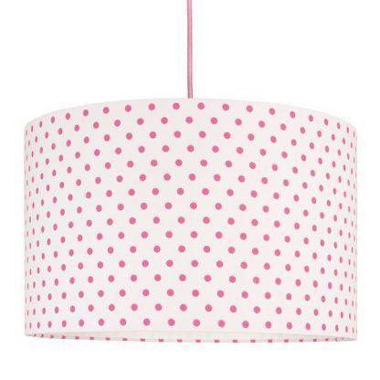 abażur do lampy wiszącej w różowe groszki - biała