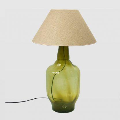 abażur z lnu - tkany do lampy stołowej oliwkowej