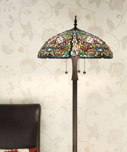anderson lampa podłogowa z witrażowym kloszem