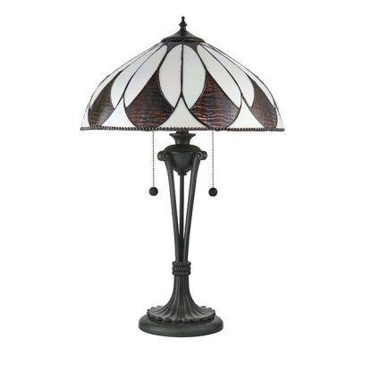 aragon brązowa lampa stołowa witrażowa