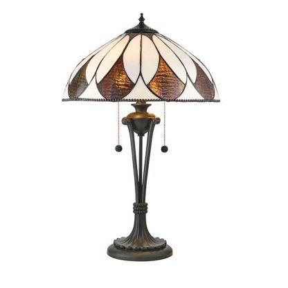 aragon brązowa lampa stołowa witrażowy klosz