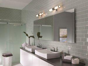 aranżacja kinkietów nowoczesnych nad lustrem w łazience
