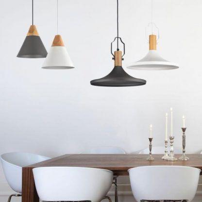 aranżacja lamp wiszacych nad stołem w jadalni - szare, białe