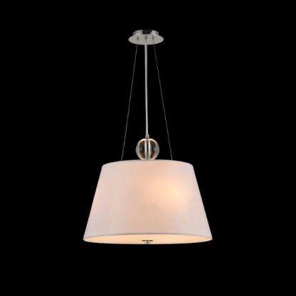 aranżacja lampy wiszącej na czarnej ścianie - szkło i abażur
