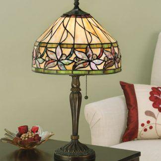 ashstead lampa stołowa witrażowa na zielonym tle