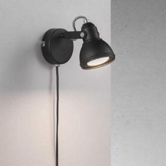 Aslak - Czarny stylowy kinkiet z przewodem i możliwością regulacji