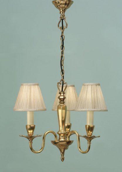 asquith złoty żyrandol na 3 żarówki kremowe abażury