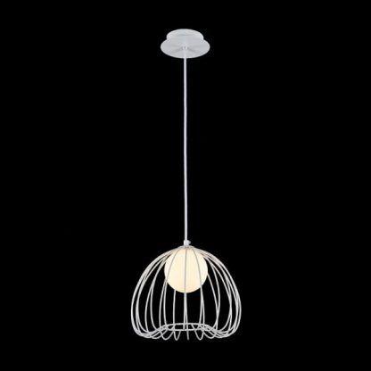 ażurowa lampa wisząca w białym kolorze do sypialni