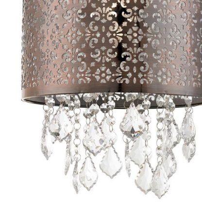 Ażurowy wzorzysty klosz z dekoracyjnymi kryształkami