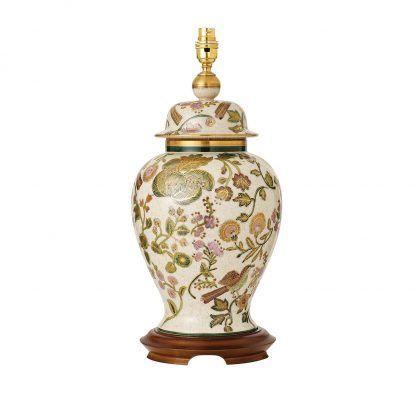 bake ceramiczna lampa stołowa w kwiaty