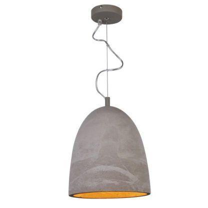 betonowa lampa wisząca z miedzianym wnętrzem - salon