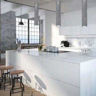 betonowe lampy sufitowe w białej kuchni aranżacja