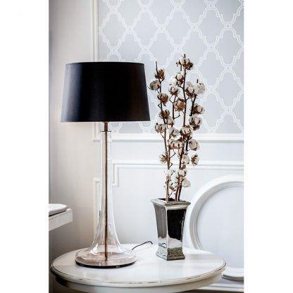 bezbarwna lampa stołowa z czarnym abażurem