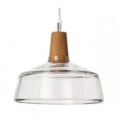 bezbarwna lampa wisząca z drewnianym trzonkiem - kuchnia