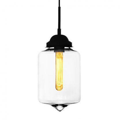 bezbarwna szklana lampa wisząca zamknięty klosz