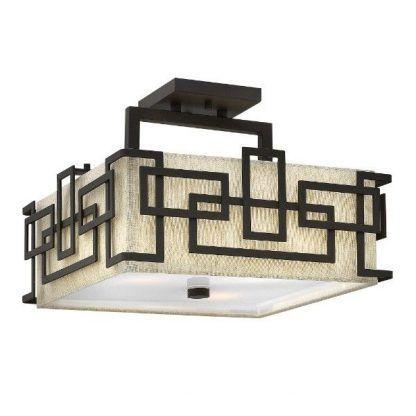 Beżowa lampa w brązowej geometrycznej oprawie