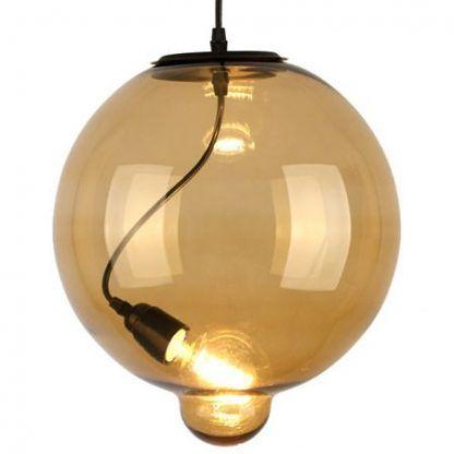 beżowa lampa wisząca szklana kula nowoczesna