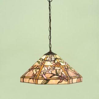 beżowa lampa wisząca w kwiaty zielona ściana
