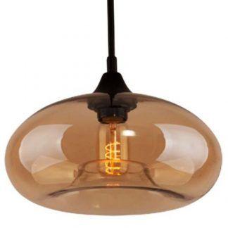 beżowa lampa wisząca z owalnym szklanym kloszem