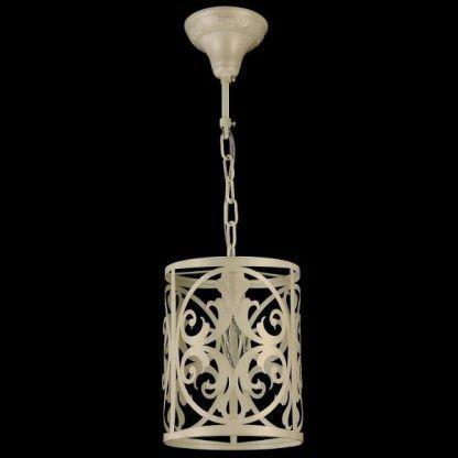 beżowa lampa wisząca ze zdobieniami klasycznymi - z blachy