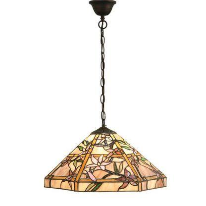 beżowa witrażowa lampa wisząca w fioletowe kwiaty