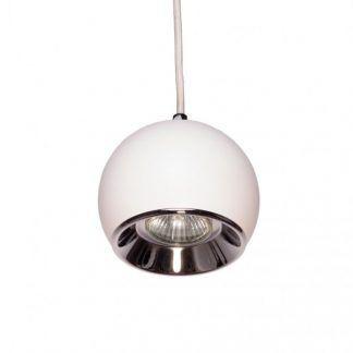 biała lampa wisząca z kloszem kulą ze srebrnym środkiem