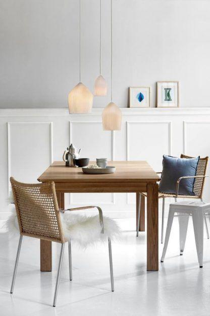 biała ceramiczna lampa wisząca aranżacja jadalnia