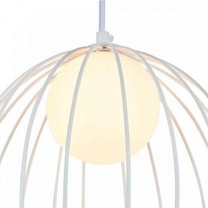 biała druciana lampa wisząca z kulą
