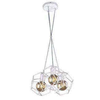 biała geometryczna lampa wisząca do salonu