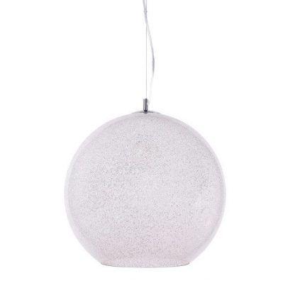 biała kula lampa wisząca na lince do salonu