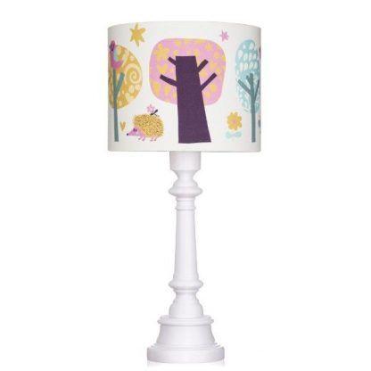 Biała lampa drewniana z abażurem z leśne zwierzęta