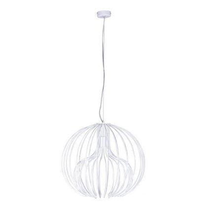 Biała lampa druciana z okrągłym kloszem do sypialni