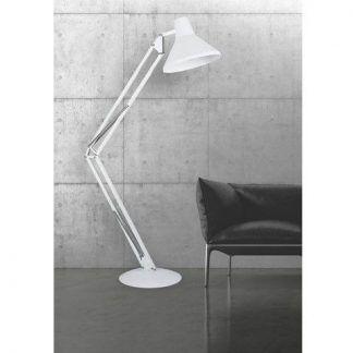 biała lampa podłogowa szary salon aranżacja
