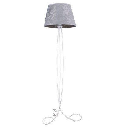 biała lampa podłogowa z szarym abażurem klasyczna