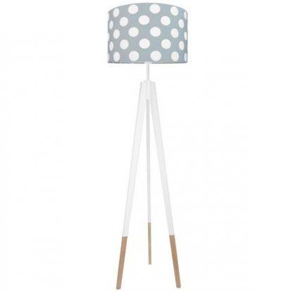 Biała lampa podłogowa z szarym abażurem w białe grochy