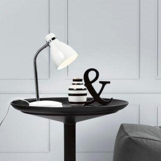 biała lampa stołowa aranżacja salon nowoczesna