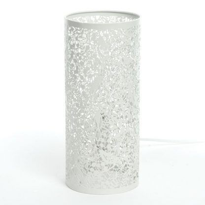 biała lampa stołowa ażurowe kwiaty