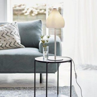 biała lampa stołowa do salonu szklany klosz aranżacja