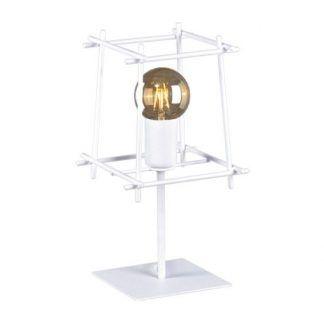 biała lampa stołowa druciana skandynawski design