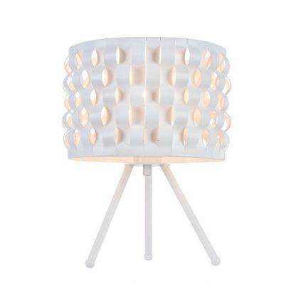 biała lampa stołowa trójnóg z tworzywa