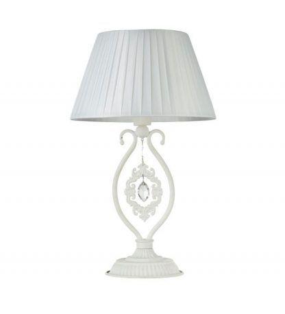 biała lampa stołowa z abażurem do salonu