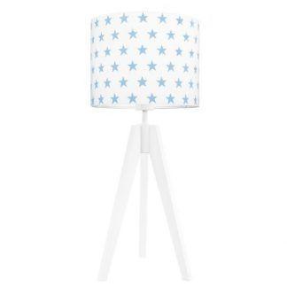 Biała lampa stołowa z abażurem w niebieskie gwiazdki