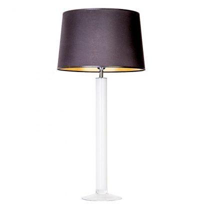 biała lampa stołowa z czarnym abażurem