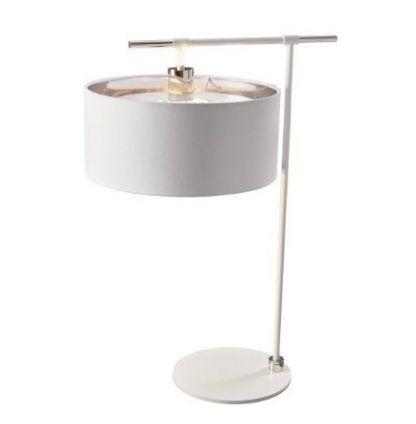 biała lampa stołowa z dużym abażurem