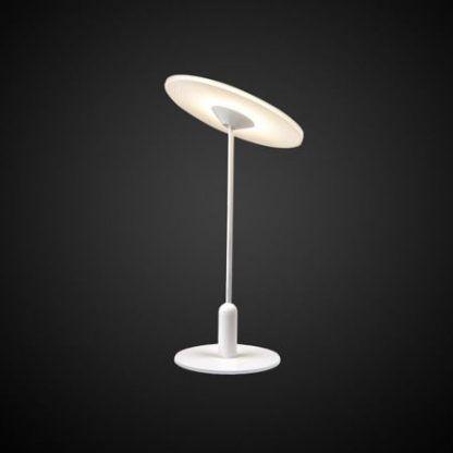 biała lampa stołowa z płaskim talerzem led