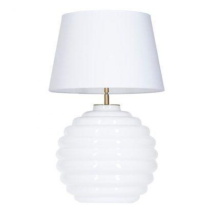 biała lampa stołowa ze szkła i abażur do szarej sypialni